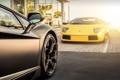 Картинка желтый, черный, Lamborghini, ламборджини, murcielago, Aventador, авентадор