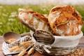 Картинка корзина, хлеб, колосья, злаки, салфетка