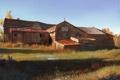 Картинка осень, трава, амбар, Yohann Schepacz, дом, сарай, арт