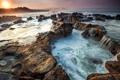 Картинка восход, камни, побережье, Индонезия, Индийский океан, Indonesia, Indian Ocean