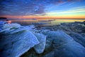 Картинка море, пейзаж, закат, лёд