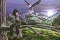 Картинка горы, ночь, дерево, птица, арт, девочка, touhou