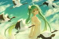 Картинка небо, девушка, облака, птицы, аниме, арт, vocaloid