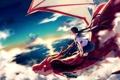 Картинка закат, облака, achiki, небо, солнце, девушка, полет