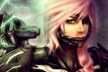Картинка девушка, металл, молния, арт, final fantasy, розовые волосы, lightning farron