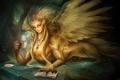 Картинка Девушка, крылья, лапы, перья, очки, чашка, кулон