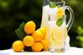 Картинка стакан, лимоны, лимонад, графин