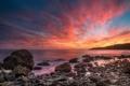 Картинка закат, камни, океан, розовый, побережье