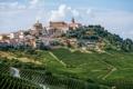 Картинка зелень, город, поля, дома, Италия, плантации, La Morra