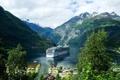 Картинка Норвегия, залив, селение, горы, теплоход