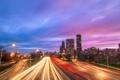 Картинка дорога, ночь, здания, дома, выдержка, освещение, Чикаго