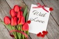 Картинка with love, тюльпаны, romantic, tulips, любовь, сердечки, hearts