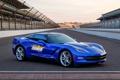 Картинка синий, трасса, ограда, Corvette, Chevrolet, автомобиль, Stingray
