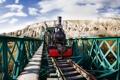Картинка мост, фон, локомотив
