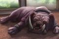 Картинка лежа, клыки, арт, пол, бульдог, комната, собака