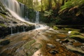 Картинка лес, деревья, скала, водопад, бревна, камни.