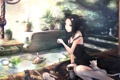 Картинка взгляд, девушка, кошки, цветы, аквариум, неко, жест