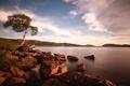 Картинка небо, озеро, камни, дерево