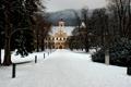 Картинка зима, лес, парк, замок, Австрия, дворец, castle