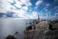 Картинка камни, море, маяк