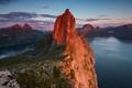 Картинка облака, острова, Норвегия, скалы, вечер, фьорды, горы