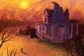 Картинка закат, трава, небо, солнце, дом, кусты, Мальчик
