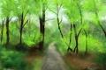 Картинка лес, деревья, природа, арт, дорожка, тропинка
