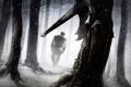 Картинка зима, лес, парень, топор, иллюстрация к книге, Роберт Джордан, Robert Jordan