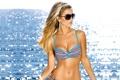 Картинка купальник, грудь, лучи, очки, блондинка, пупок, мерцание