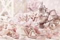 Картинка украшения, стол, новый год, сердца, конфеты, new year, hearts