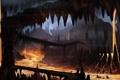 Картинка мост, человек, силуэт, арт, лава, пещера, подземелье