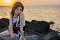 Картинка море, девушка, закат, настроение