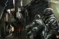 Картинка оружие, люди, улица, игра, солдаты, маски, Killzone 2