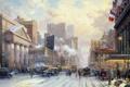 Картинка зима, авто, рисунок, здания, Нью-Йорк, 20 век