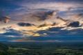 Картинка небо, облака, пейзаж, природа, холмы, поля, горизонт