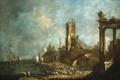 Картинка люди, корабль, картина, развалины, francesco guardi, veduta