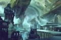 Картинка дорога, город, скалы, меч, арт, статуя, руины