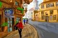 Картинка люди, улица, рисунок, башня, дома, вектор, тротуар