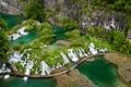 Картинка зелень, горы, мост, вид, сверху, водопады, национальный парк
