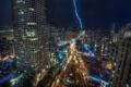 Картинка дорога, ночь, огни, молния, здания, Chicago