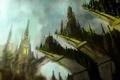 Картинка арт, город, скалы, высота, выступы