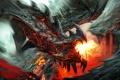 Картинка Дракон, лава, пламя