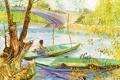 Картинка небо, пейзаж, мост, река, лодка, картина, рыбак