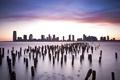Картинка закат, city, небоскребы, new york, нью йорк