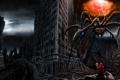 Картинка город, молния, человек, монстр, паук, арт, посох