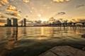 Картинка облака, закат, мост, город, река, здания, дома