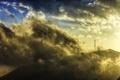 Картинка вершина, пейзаж, вышка, природа, солнечный свет, облака, гора