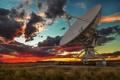 Картинка радиотелескоп, пейзаж, сумерки, закат