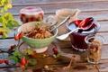 Картинка завтрак, шиповник, натюрморт, джем, мюсли