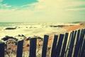 Картинка песок, море, волны, пляж, вода, камни, забор